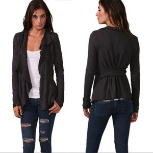 We Free People zip jacket ebb Flow Black ruffle